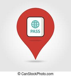 地図, ベクトル, パスポート, ピン, アイコン