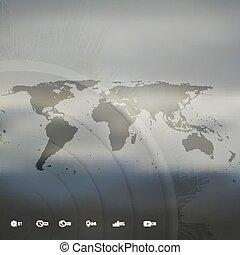 地図, ベクトル, ビジネス, infographic, デザイン, テンプレート, 世界, 見通し