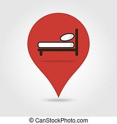 地図, ベクトル, ベッド, ピン, アイコン
