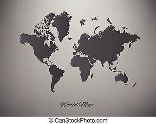 地図, ベクトル, ペーパー, 背景, 世界, 白