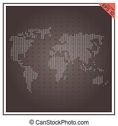 地図, ベクトル, ペーパー, 黒い背景, 世界, 白
