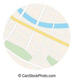 地図, ベクトル, -, ラウンド, 通り