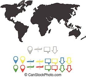 地図, ベクトル, 世界