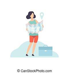 地図, ベクトル, 女性実業家, イラスト, 印, ペーパー, 保有物, ナビゲーション