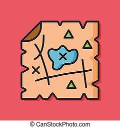 地図, ベクトル, 宝物, アイコン