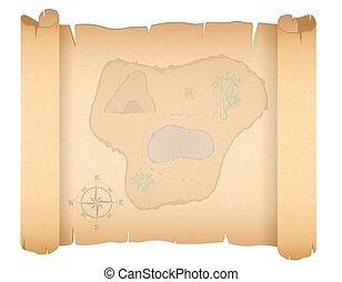 地図, ベクトル, 宝物, 海賊