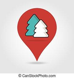 地図, ベクトル, 森林, ピン, アイコン