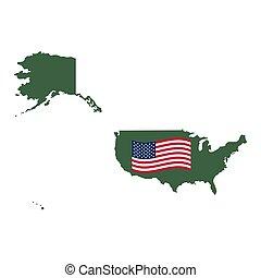 地図, ベクトル, 白, アメリカ, 隔離された
