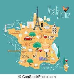 地図, ベクトル, 隔離された, イラスト, フランス