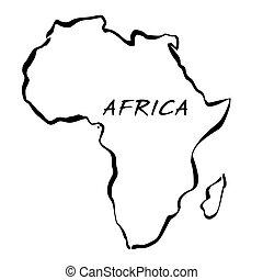 地図, ベクトル, 黒, イラスト, アフリカ。