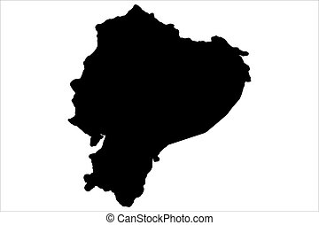 地図, ベクトル, 黒, エクアドル, イラスト
