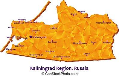地図, ベクトル, kaliningrad, ロシア, 地域