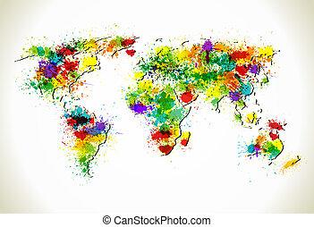 地図, ペンキ, ベクトル, はねる, 背景, 世界