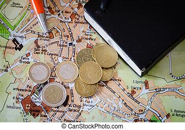 地図, ペン, 道