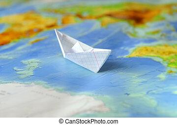 地図, ペーパーボート, 背景, 世界