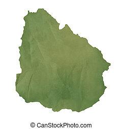 地図, ペーパー, 古い, 緑, ウルグアイ