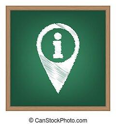 地図, ポインター, ∥で∥, 情報, 印。, 白, チョーク, 効果, 上に, 緑, 学校, board.
