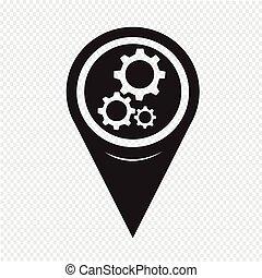 地図, ポインター, ギヤ, アイコン