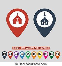 地図, ポインター, 灰色, バックグラウンド。, 教会, アイコン