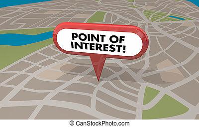 地図, ポイント, 旅行, スポット, イラスト, 位置, 興味, 観光事業, 3d