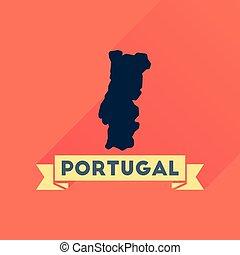 地図, ポルトガル, アイコン, 長い間, 影, 平ら