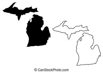 地図, ミシガン州, ベクトル