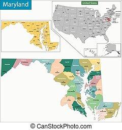 地図, メリーランド
