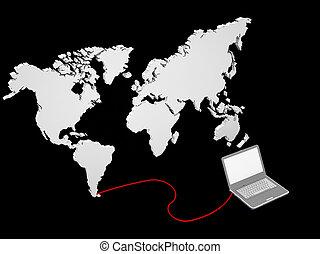 地図, ラップトップ, 接続される, イラスト, 世界
