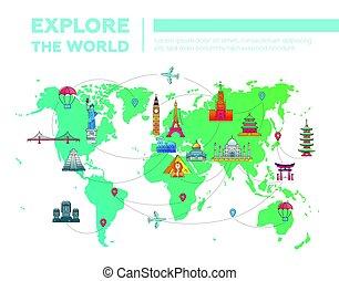 地図, ランドマーク, -, 有名, 探検しなさい, 世界