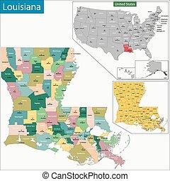 地図, ルイジアナ