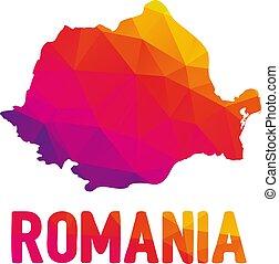 地図, ルーマニア, 印, polygonal, 低い, typo, (rom?nia)