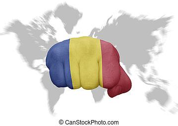 地図, ルーマニア, 背景, 国旗, 握りこぶし, 世界