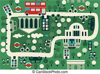 地図, ロンドン, 漫画