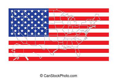 地図, 上に, 旗, usaアウトライン