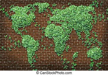 地図, 世界的である, 葉