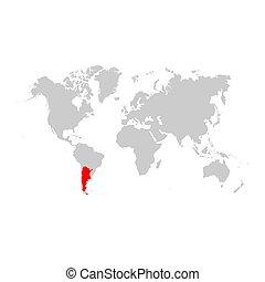 地図, 世界, アルゼンチン