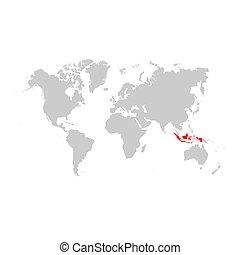 地図, 世界, インドネシア