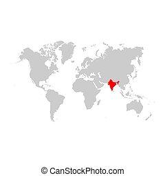 地図, 世界, インド
