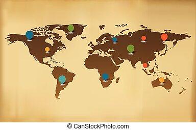 地図, 世界, ベクトル, 背景, アイコン
