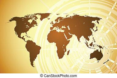 地図, 世界, ベクトル, 背景, techno