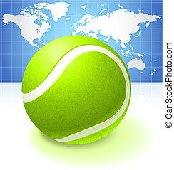 地図, 世界, ボール, 背景, テニス