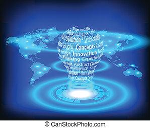 地図, 世界, 電球, ライト