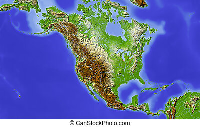 地図, 中央アメリカ, 救助, 北, 影で覆われる
