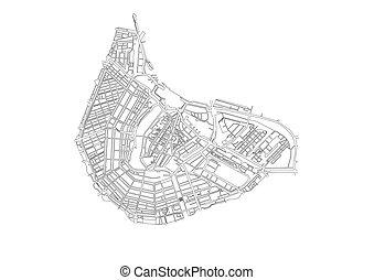 地図, 中心, 都市, 隔離された, ベクトル, 背景, アムステルダム, 白