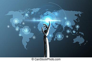 地図, 予測, ロボット, 手, 感動的である, 世界