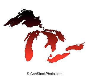 地図, 五大湖