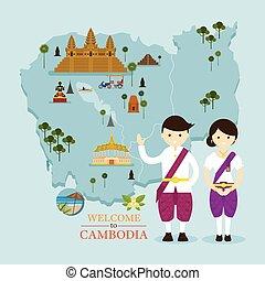 地図, 人々, ランドマーク, カンボジア, 伝統的な衣類