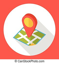 地図, 位置, 平ら, アイコン