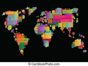 地図, 作られた, カラフルである, スピーチ, 世界, 泡