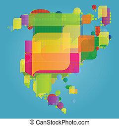 地図, 作られた, 中央である, カラフルである, ベクトル, スピーチ, 北, 世界, 泡, アメリカ, 大陸